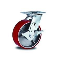 PU robuste avec roulettes de frein latérales en fer