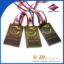 Medalla de voleibol Medalla de plata de cobre antiguo de plata con cinta