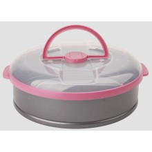 Spring form cake pan with plastic lid
