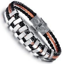 2015 nueva joyería coreana al por mayor tendencia de la joyería de la manera de la cuerda tejida de la mano de la pulsera de cuero de los nuevos hombres PH843