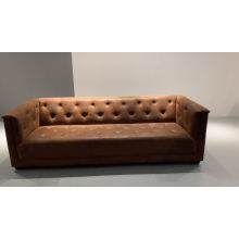 Industrial Style Retro Copper Nail 3 Seater Brown Breathable Fabric Club Sofa