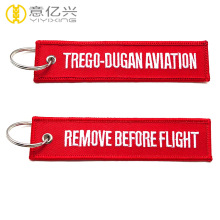 before flight embroidered ribbon keychain personalized