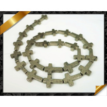 Hot Selling Golden Pyrite Cross Beads Gemstone Beads for Jewelry (GB0107)