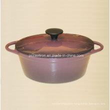 Purple Enamel Cast Iron Dutch Oven Oval Shape Size 25X19