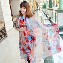 Echarpe de robe de plage à rayures en soie rouge personnalisée
