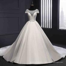 Cetim elegante nupcial vestido de baile de casamento