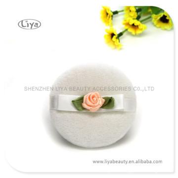 White Satin Powder Make up Cosmetic Wedges Powder Puff