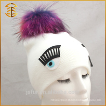 Fábrica atacado Custom Raccoon Pom Pom Knit Striped Fur Hat