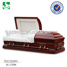 Highlight the red white indoor quality good coffin