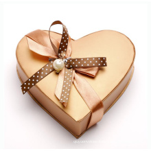 Custom Heart-Shaped Gift Chocolate Box with Silk Ribbon