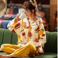 Womens Cute Langarm-Baumwoll-Nachtwäsche-Pyjama-Set