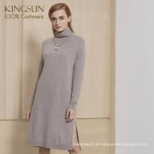 Fantasitic Frauen Winter Kleid Side Split 100% Kaschmir Strickpullover Kleid für 2018