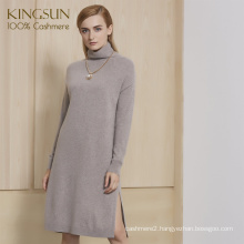 Fantasitic Women Winter Dress Side Split 100% Cashmere Knitted Pullover Dress for 2018