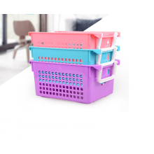 Wholesale eco-friendly high quality reusable plastic basket storage with handle
