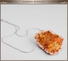 Fashion statement aliexpress Hot sale natural stone pendant cameo jewelry charms yellow crystal Agate long necklace for women
