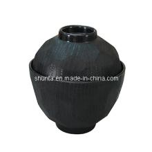 Vaisselle 100% en mélamine-Bol à soupe miso avec couvercle (intérieur brillant, extérieur mat-bois) / bol en mélamine (QQBK15209S)