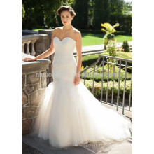 NA1029 Gorgeous Mermaid Sweetheart Pleated Tulle Ivory Bridal Wedding Dress