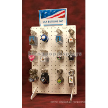 Gift Store Counter Top Double Sided White Pegboard Keychain Holder Key Ring Display Wholesale