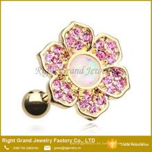 Joyería plateada oro del cuerpo del pendiente de la flor del ópalo de la joyería del oro de la plata del acero inoxidable 316L