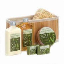 Hotel Bath Set, Includes Bath Natural Sponge and Wooden Massager