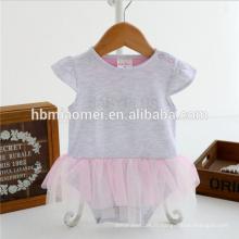 Nouvelle arrivée infantile bébé fille barboteuse une pièce nouveau né barboteuse filles jumpsuit avec 100% coton