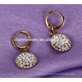 Simple Elegant Round Shape Pendant Stainless Steel Earrings for Women ZZE020
