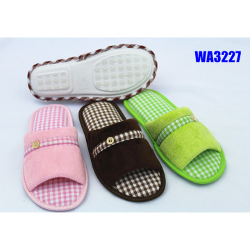 Women's Fashion Check Binding Indoor Slippers Open Toe
