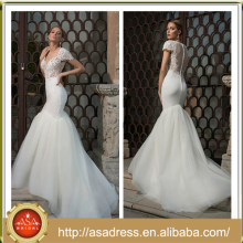 BIE-22 Custom Made Lace Appliqued Bodice Wedding Bridal Gown 2015 Short Sleeve Tulle Mermaid Long Sexy Wedding Dress