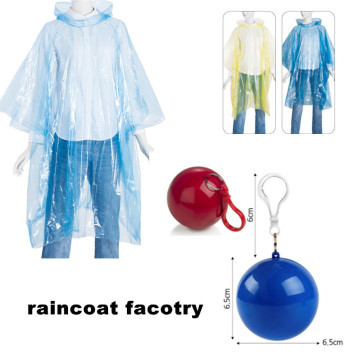 venta de fábrica Desechable Pe Rain Gear In Ball