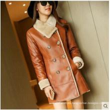 Abrigo y abrigo de piel de oveja real de invierno para Lady Long Style