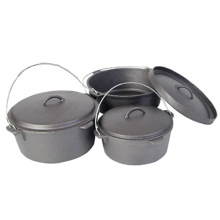 3pcs Pre Seasoned Cast Iron Camp Pot Set