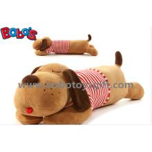 Peluche de felpa grande peluche animales de juguete de perro con la camiseta roja Cuerpo de largo puede ser almohada