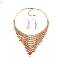 2018 Africano Nigeriano Mulheres Colar Bead Jewelry Set