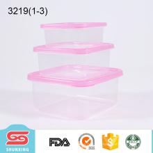 3 pièces ensemble portable en plastique carré gardant la boîte fraîche claire des conteneurs de stockage des aliments