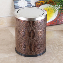 Four en acier inoxydable en cuir marron Top 12L Push Dustbin (F-12LI)