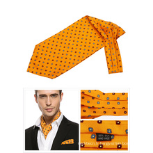 100% Soie Imprimé Ascot Cravate Hommes Cravat
