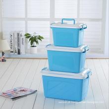 Recipiente de armazenamento de plástico de 3 tamanhos disponível para armazenamento doméstico