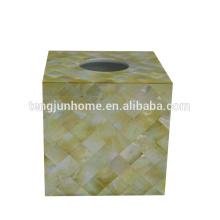 Concha shell pérola shell caixas de tecido ouro shell quadrado dourado tecido caixa