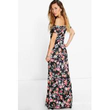 Флора плеча женщины Макси платье