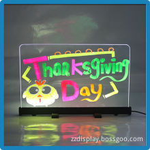 Low price indoor aluminium alloy 30*50 high brightness led writing menu magic galss board for advertising beer