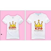 Новый дизайн печатных пользовательских белых футболки для пары