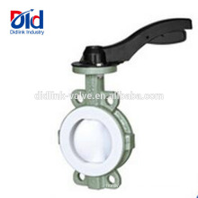 High Performance Manufacturer Manual Double Flanged Carbon Steel Wafer Butterfly Valve Ptfe Coated