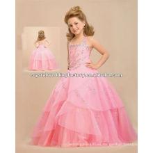 ¡Caliente !! el bordado rosado del halter rebordeó el desfile vestido de bola vestido de flor se viste CWFaf4301