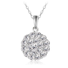 Luxury Womens Flower Disco Ball Round Pendant&Necklace (CNL0210-B)