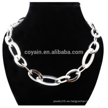 El mejor precio Brillante plata de chapa de acero inoxidable unisex collar de cadena