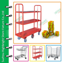 3 tiers warehouse tool trolley with five wheels