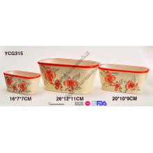 Potes de cerámica pintados a mano de flores conjunto de 3