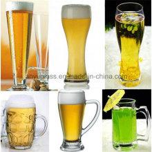Copo de vidro da caneca de cerveja da capacidade elevada & da qualidade com estilo vário