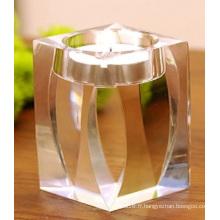 Bougeoir en cristal simple de bougeoir pour la décoration de mariage