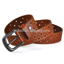 Genuine leather belt for man and woman with tan col of in 38mm width of cutout design